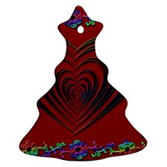 Red Heart Colorful Love Shape Christmas Tree Ornament (two Sides)