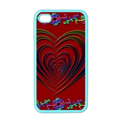 Red Heart Colorful Love Shape Apple Iphone 4 Case (color)