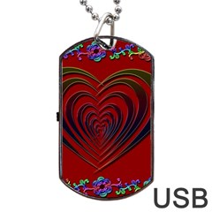 Red Heart Colorful Love Shape Dog Tag Usb Flash (two Sides)