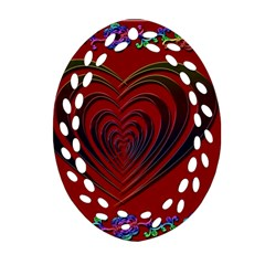 Red Heart Colorful Love Shape Ornament (oval Filigree)