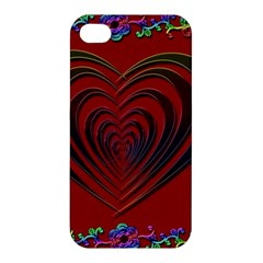 Red Heart Colorful Love Shape Apple iPhone 4/4S Premium Hardshell Case