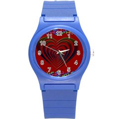 Red Heart Colorful Love Shape Round Plastic Sport Watch (s)