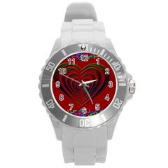Red Heart Colorful Love Shape Round Plastic Sport Watch (l)