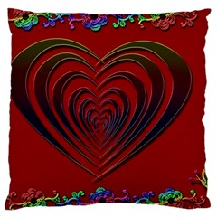 Red Heart Colorful Love Shape Large Cushion Case (one Side)