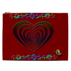 Red Heart Colorful Love Shape Cosmetic Bag (XXL)