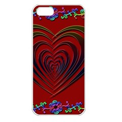 Red Heart Colorful Love Shape Apple Iphone 5 Seamless Case (white)