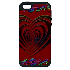 Red Heart Colorful Love Shape Apple Iphone 5 Hardshell Case (pc+silicone)