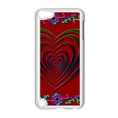 Red Heart Colorful Love Shape Apple iPod Touch 5 Case (White)