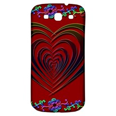 Red Heart Colorful Love Shape Samsung Galaxy S3 S III Classic Hardshell Back Case