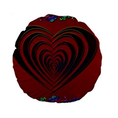 Red Heart Colorful Love Shape Standard 15  Premium Round Cushions