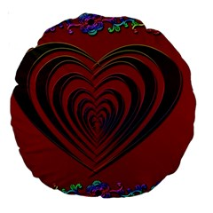 Red Heart Colorful Love Shape Large 18  Premium Round Cushions