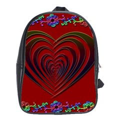 Red Heart Colorful Love Shape School Bags (XL)