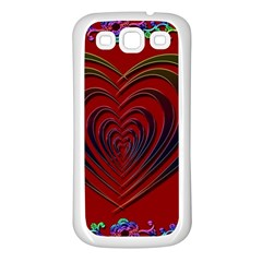 Red Heart Colorful Love Shape Samsung Galaxy S3 Back Case (white)