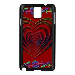 Red Heart Colorful Love Shape Samsung Galaxy Note 3 N9005 Case (black)