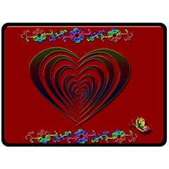 Red Heart Colorful Love Shape Double Sided Fleece Blanket (Large)