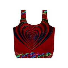 Red Heart Colorful Love Shape Full Print Recycle Bags (S)