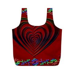 Red Heart Colorful Love Shape Full Print Recycle Bags (M)