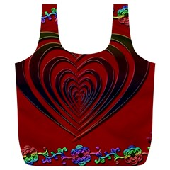 Red Heart Colorful Love Shape Full Print Recycle Bags (L)