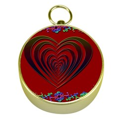 Red Heart Colorful Love Shape Gold Compasses