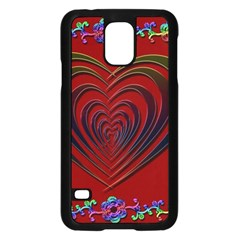 Red Heart Colorful Love Shape Samsung Galaxy S5 Case (Black)
