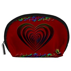 Red Heart Colorful Love Shape Accessory Pouches (Large)