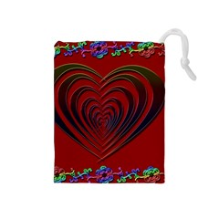 Red Heart Colorful Love Shape Drawstring Pouches (Medium)