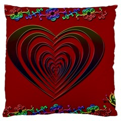 Red Heart Colorful Love Shape Large Flano Cushion Case (one Side)