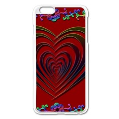 Red Heart Colorful Love Shape Apple iPhone 6 Plus/6S Plus Enamel White Case