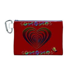Red Heart Colorful Love Shape Canvas Cosmetic Bag (M)