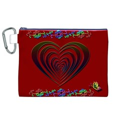 Red Heart Colorful Love Shape Canvas Cosmetic Bag (xl)