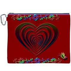 Red Heart Colorful Love Shape Canvas Cosmetic Bag (xxxl)