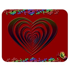 Red Heart Colorful Love Shape Double Sided Flano Blanket (medium)