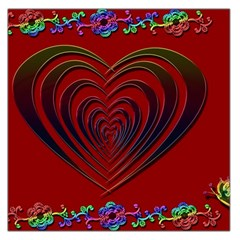 Red Heart Colorful Love Shape Large Satin Scarf (square)