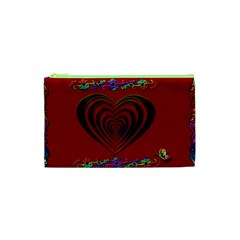 Red Heart Colorful Love Shape Cosmetic Bag (xs)