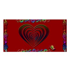 Red Heart Colorful Love Shape Satin Shawl