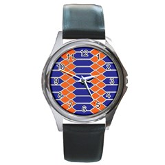 Pattern Design Modern Backdrop Round Metal Watch