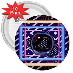 Abstract Sphere Room 3d Design 3  Buttons (10 pack)