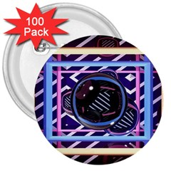 Abstract Sphere Room 3d Design 3  Buttons (100 Pack)