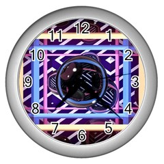 Abstract Sphere Room 3d Design Wall Clocks (silver)