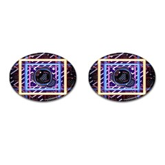 Abstract Sphere Room 3d Design Cufflinks (Oval)
