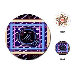 Abstract Sphere Room 3d Design Playing Cards (Round)