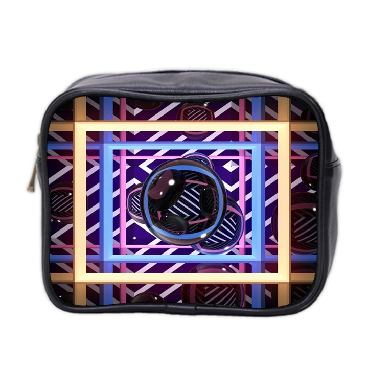 Abstract Sphere Room 3d Design Mini Toiletries Bag 2-Side