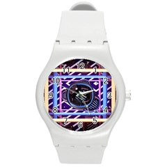 Abstract Sphere Room 3d Design Round Plastic Sport Watch (m)