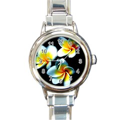 Flowers Black White Bunch Floral Round Italian Charm Watch