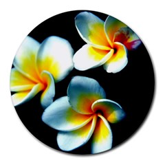 Flowers Black White Bunch Floral Round Mousepads