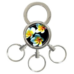 Flowers Black White Bunch Floral 3-Ring Key Chains