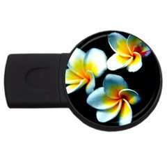 Flowers Black White Bunch Floral USB Flash Drive Round (1 GB)