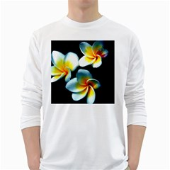Flowers Black White Bunch Floral White Long Sleeve T Shirts