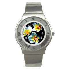 Flowers Black White Bunch Floral Stainless Steel Watch