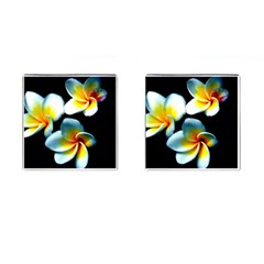 Flowers Black White Bunch Floral Cufflinks (square)